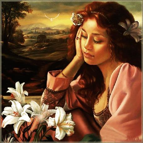 Анимация Девушка с цветами в волосах, сидит подперев голову рукой и смотрит на белые лилии