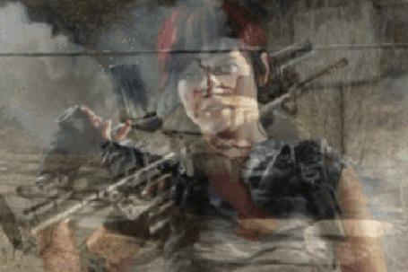 Анимация Девушка солдат с пулеметом на плече, на фоне едущего танка (© Akela), добавлено: 03.05.2015 07:10