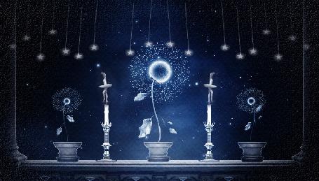 Анимация На подоконнике стоят горшочки со светящимися цветами, подсвечники с танцующими на свечах балеринами и качающиеся сверху на нитках звездочки (© Akela), добавлено: 03.05.2015 07:13