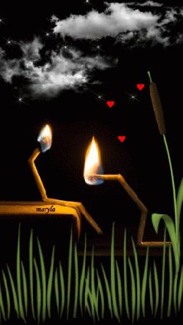 Анимация Две горящие спички, олицетворяющие девушку и парня (© zmeiy), добавлено: 03.05.2015 07:16