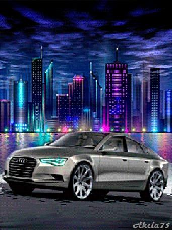 Анимация Автомобиль Audi стоит мигая фарами на покрытой водой поверхности, на фоне ночного города, Akela 73 (© Akela), добавлено: 03.05.2015 11:24
