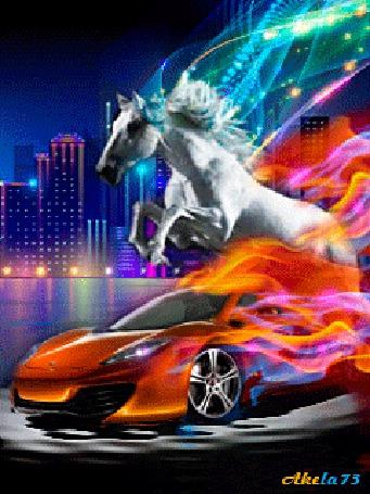 Анимация Автомобиль оранжевого цвета объятый пламенем, мчится по покрытой водой поверхности на фоне ночного города, над ним возвышается рвущаяся вперед белая лошадь, Akela 73 (© Akela), добавлено: 03.05.2015 11:28