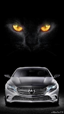 Анимация Над автомобилем Мерседес голова огромной черной кошки с желтыми глазами, Akela 73 (© Akela), добавлено: 03.05.2015 11:33