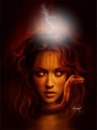 Анимация Медуза Горгона со змеями вместо волос и молниями над головой (© Akela), добавлено: 03.05.2015 11:50