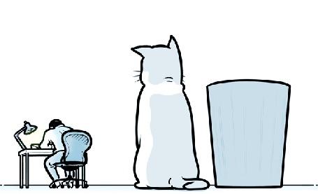 Анимация Человек сидит за рабочим столом, бросает мятый лист бумаги, который ловит кот и кладет в ведро