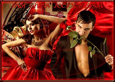 Анимация Праздник день рождения, торжество, на фоне комнаты стоит девушка в красном платье, рядом с ней мужчина с розой во рту (ты моя королева) (© ДОЛЬКА), добавлено: 03.05.2015 23:00