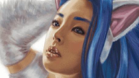 Анимация Девушка с фиолетовыми волосами и ушками