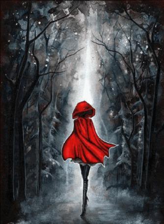 Анимация Девушка в красном плаще идет в мрачный лес (© zlaya), добавлено: 04.05.2015 16:14