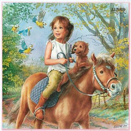 Анимация Радостная девочка сидит с собачкой на лошадке, вокруг летают птички