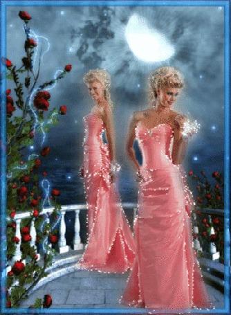 Анимация Красивая блондинка в вечернем розовом платье стоит на террасе при лунном свете, гламур (© Natalika), добавлено: 05.05.2015 13:06