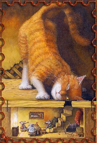 Анимация Полосатый рыжий кот смотрит в дырку в полу, где в благоустроеной норе мышки за столом пьют чай при свете горящей свечи (© царица Томара), добавлено: 05.05.2015 13:29