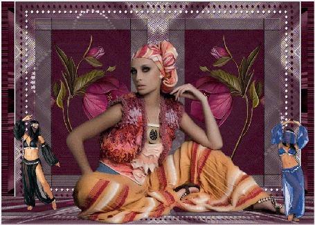 Анимация На фоне цветов и орнаментов на полу сидит восточная девушка, рядом танцуют наложницы, (© Valensia), добавлено: 05.05.2015 13:35