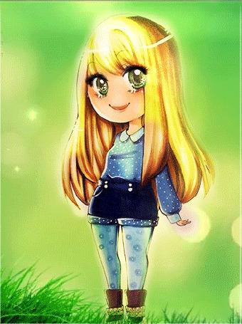 Анимация Светловолосая девушка стоит на цветущей ромашками лужайке