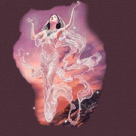 Анимация Девушка с поднятыми вверх руками в блестящем белом платье
