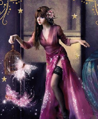 Анимация Девушка в лиловом платье с открытой ножкой держит в руке клетку, вокруг которой летают эльфины (© Natalika), добавлено: 05.05.2015 19:44