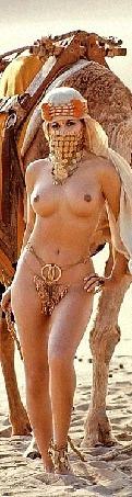 Анимация Довольная морда верблюда прикрывающая полуобнаженную арабскую девушку с украшениями, идущую по песку пустыни с этим верблюдом