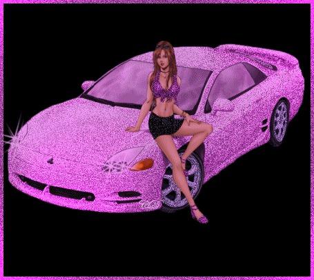 Анимация Девушка в короткой юбочке сидит на капоте гламурного сиреневого блестящего авто