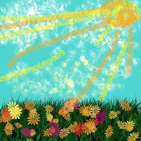 Анимация Синяя бабочка летает над полянкой с ромашками, ярко светит солнышко (© Natalika), добавлено: 06.05.2015 09:16