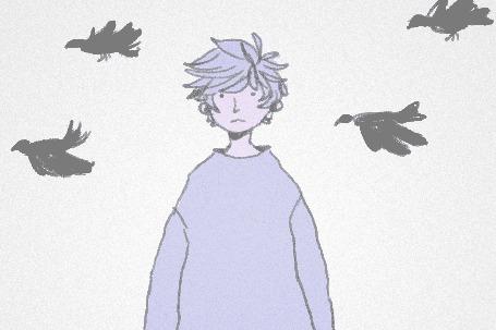 Анимация За спиной парня пролетают птицы (© chucha), добавлено: 07.05.2015 00:16