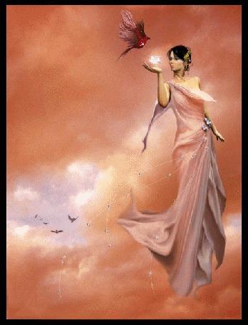 Анимация Девушка в светло-розовом платье парит среди облаков. В правой руке у нее находится блестящий предмет, над рукой - птица (© Solnushko), добавлено: 07.05.2015 14:28