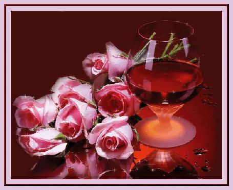 Анимация Бокал красного вина, рядом букет блестящих розовых роз (© Natalika), добавлено: 07.05.2015 15:53