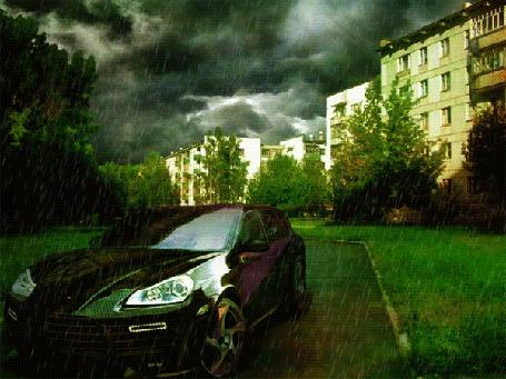 Анимация Автомобиль стоит на дороге возле домов под дождем и мигает фарами (© Akela), добавлено: 07.05.2015 21:20
