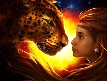 Анимация Девушка и леопард на фоне ночного неба (© Bezchyfstv), добавлено: 08.05.2015 00:23