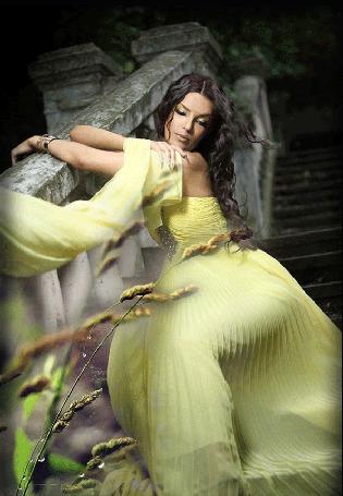 Анимация Девушка в лимонного цвета платье сидит на каменной лестнице (© Akela), добавлено: 08.05.2015 18:22