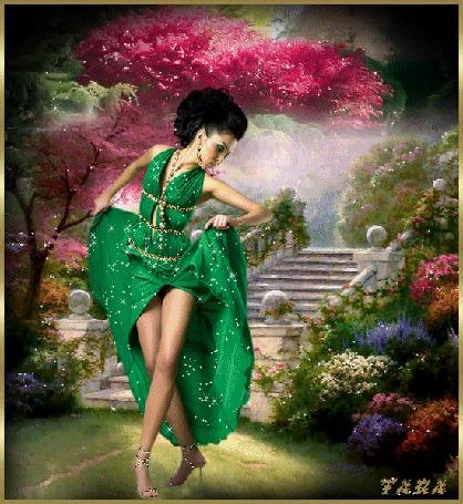 Анимация Красивая брюнетка в зеленом платье танцует в парке на фоне цветов и ступенек, автор TARA (© Natalika), добавлено: 08.05.2015 18:42