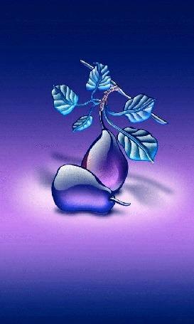 Анимация Стеклянные плоды груш с листьями, на меняющем свой цвет фоне