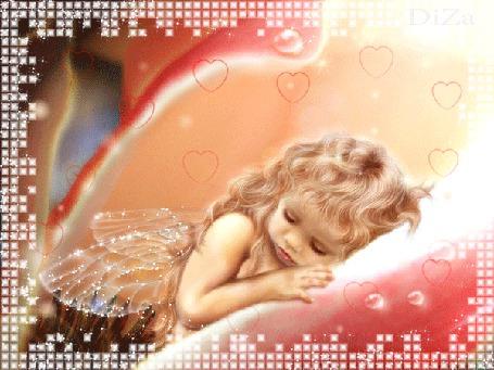 Анимация Девочка-эльфина спит в середине цветка, вокруг маленьких сердечек, автор DiZa (© Natalika), добавлено: 09.05.2015 14:05