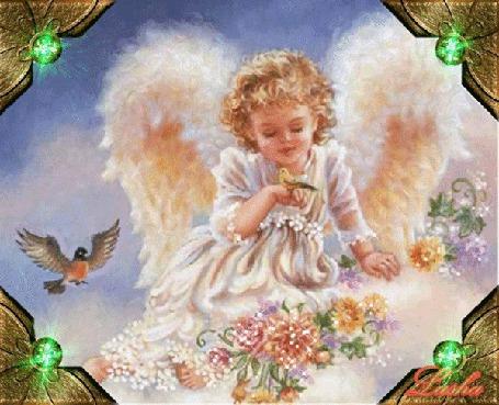 Анимация Девочка Ангел на облаке с птичкой на руке, в цветах, в рамке с изумрудными огоньками, автор Lusha (© Natalika), добавлено: 09.05.2015 14:11