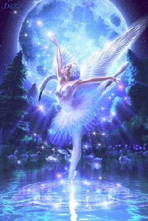 Анимация Лебединое озеро, девушка-лебедь в ночном свете луны на водной глади, автор DiZa (© Natalika), добавлено: 09.05.2015 14:16