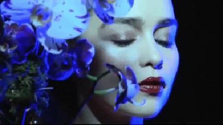 Анимация Девушка отводит голову к цветам (© zmeiy), добавлено: 09.05.2015 18:39