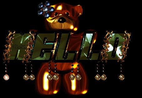 Анимация Янтарный медвежонок с синим цветком на голове держит буквы HELLO (ЗДРАВСТВУЙТЕ), увешанные украшениями, DiZa