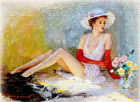 Анимация Девушка в летнем платье и в белой шляпке сидит и обрывает лепестки с букета цветов (© Akela), добавлено: 11.05.2015 05:19