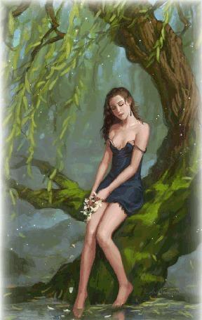 Анимация Девушка сидит на дереве опустив ноги в воду и держит в руках цветы, с которых облетают лепестки в воду (© Akela), добавлено: 11.05.2015 05:42