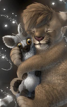 Анимация Львенок с любовью обнимает пушистого зверька с полосатым хвостом