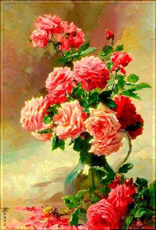 Анимация Рисованный букет роз в стеклянном кувшине на пастельном фоне (© Natalika), добавлено: 11.05.2015 13:27