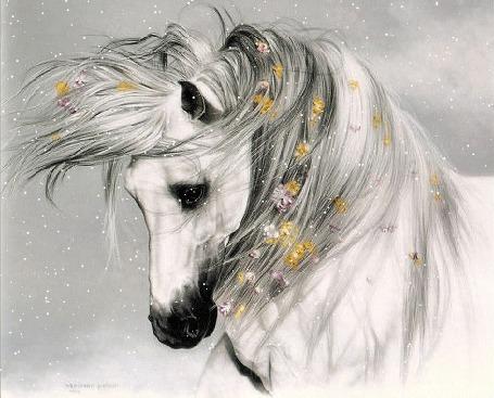 Анимация Белая лошадь слегка склонила голову. В ее гриву вплетены желтые и розовые цветы (© Solnushko), добавлено: 12.05.2015 12:28