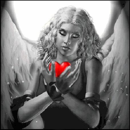 Анимация Девушка - ангел с сердечком (© zmeiy), добавлено: 12.05.2015 19:26
