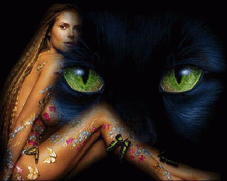 Анимация На фоне черной кошачьей морды с желтыми глазами сидит девушка, на которой сидит множество бабочек