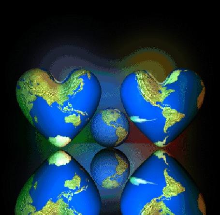 Анимация Любовь правит миром, два сердечка раскрашенные в цвета планеты, вращаются вокруг планеты Земля, отражаясь в зеркальной поверхности (© Akela), добавлено: 13.05.2015 14:45