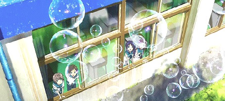 Анимация Канаме Исаки / Kaname Isaki, Хикари Сакишима / Hikari Sakishima, Чисаки Хирадайра / Chisaki Hiradaira и Манака Мукайдо / Manaka Mukaido из аниме Безоблачное завтра / Nagi no Asu Kara наблюдают за мыльными пузырями из окна