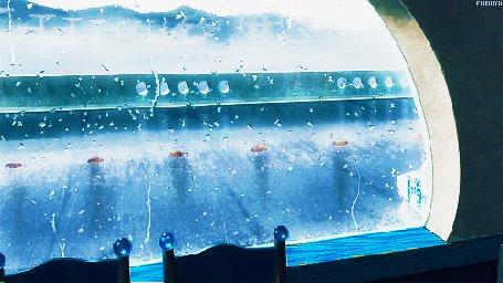 Анимация За окном идет дождь, кадр из аниме Безоблачное завтра / Nagi no Asu Kara