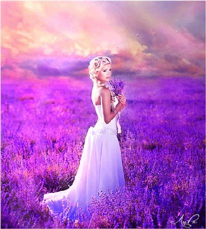 Анимация Белокурая девушка стоит в поле сиреневых цветов под лучами солнца, by EllieKimberLyLescner