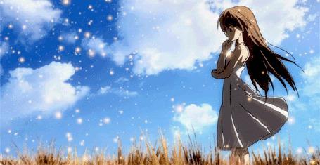 Анимация Nagisa / Нагиса из аниме Кланнад / Clannad в окружении светящихся магических шариков на фоне неба