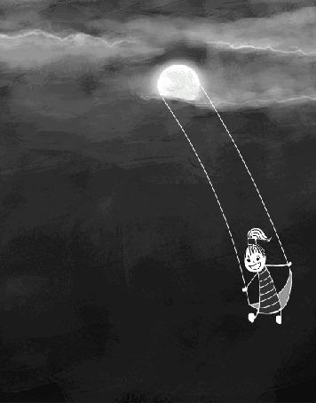 Анимация Девочка ночью качается на качелях