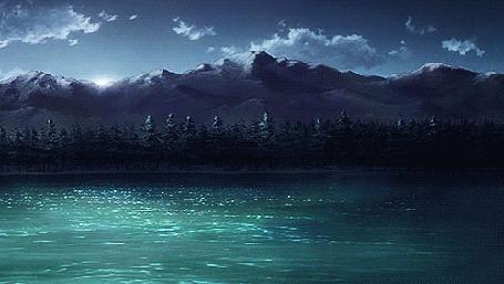 Анимация Восход солнца над горами