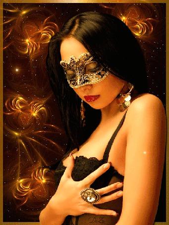 Анимация Девушка в маске на глазах, на черном фоне